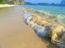 Tropical virgin beach. Tropical seascape in El Nido bay, pristine Palawan, Philippines royalty free stock photos