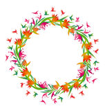 Tropical vivid flower and colibri birds in round frame. Stock Images