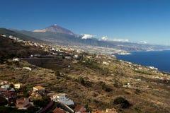 Tropical vulcan Teide on Tenerife island. View on vulcan Teide from la Oratava valley Royalty Free Stock Photography
