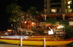 Tropical Waikiki Beach night. Waikiki Beach at night, Honolulu. Hawaii Stock Images