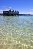 Tropical Water. Tropical beach, with jetty in the background.  Clear blue sky.  Busselton, Western Australia Stock Image