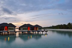 Tropical water home villas Royalty Free Stock Images