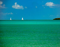 Tropical water and sailboats Florida Stock Photos