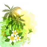 Tropical watercolor background with green palms. Summer floral vector tropical watercolor background with green palms and flowers Royalty Free Stock Image