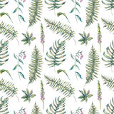 Tropical watercolor leaf seamless pattern Stock Photo