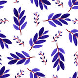 Tropical watercolor leaves seamless pattern. Vector texture with hand paint violet branches. Stock Images