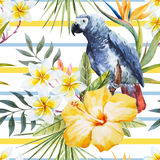 Tropical watercolor pattern Royalty Free Stock Photo
