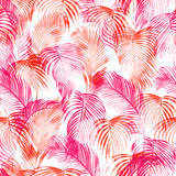 Tropical watercolor pattern. Palm trees and tropical branches in seamless wallpaper on a white background. Digital art. Can be used for manufactory and Royalty Free Stock Photo