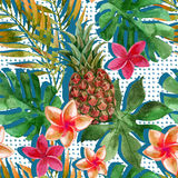 Tropical watercolor pineapple, flowers and leaves with shadows vector illustration