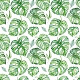Tropical watercolor seamless pattern with green leaves illustration royalty free stock photo
