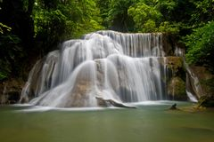 Tropical waterfall. Huay Mae Khamin-Paradise Waterfall located in deep forest of Thailand Royalty Free Stock Photography