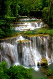 Tropical waterfall. Huay Mae Khamin Forth Level, Paradise Waterfall located in deep forest of Thailand Royalty Free Stock Photography