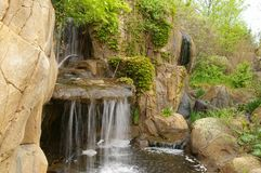 Tropical Waterfall. With vegetation Stock Photos