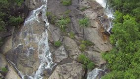 Tropical waterfall, birds and palm trees. Aerial slow motion video. Clip stock video footage