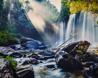 Tropical waterfall in Cambodia Stock Images