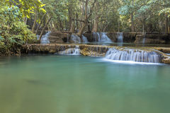 Tropical waterfall in deep forest. Of Kanchanaburi province, Thailand Royalty Free Stock Photos