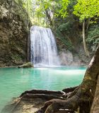 Tropical waterfall Erawan. Erawan waterfall. Famous place in Thailand Royalty Free Stock Photo