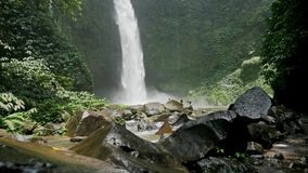 Tropical Waterfall Falling Water Indonesia Slowmotion