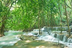Tropical waterfall in forest. Huay mae kamin waterfall in Sri nakarin dam national park, Thailand Stock Photos