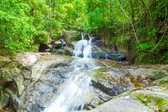 Tropical waterfall in the forest,Ton Chong Fa in khao lak Phang. Nga South of Thailand royalty free stock photos