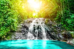 Tropical waterfall in the forest,Ton Chong Fa in khao lak Phang. Nga South of Thailand stock photos