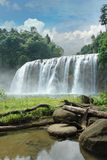 Tropical waterfall in jungle. The wide Tinuy-an waterfall near Bislig city, Mindanao, Philippines, called the Niagara of the Philippines, in a pristine virgin Stock Images