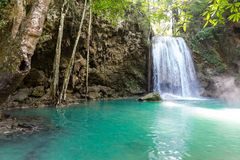 Tropical waterfall and lake. Erawan waterfall and lake on foreground Royalty Free Stock Photo