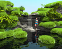 Tropical waterfall on the lake. Girl in a blue bathing suit. Tropical waterfall on the lake. 3d image. Girl in a blue bathing suit Stock Images