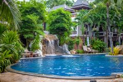 Tropical waterfall landscape in spa resort Royalty Free Stock Photography