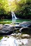 Tropical waterfall Lower Waikamoi Falls and a small crystal clear pond, inside of a dense tropical rainforest, off the Road to Han. A Highway, Maui, Hawaii, USA Stock Photos