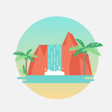 Tropical waterfall with palm trees. Vector flat illustration. Royalty Free Stock Images