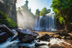 Tropical waterfall. Phnom Kulen, Cambodia Royalty Free Stock Photos