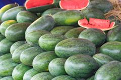 Tropical watermelon. Asian tropical fruits for sale.  Royalty Free Stock Photos