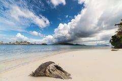 Tropical weather change on idyllic beach Royalty Free Stock Photo