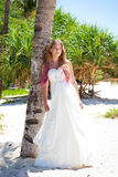 Tropical wedding, bride near palm tree Stock Photos