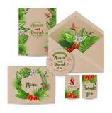 Tropical wedding invitation cards Stock Photo