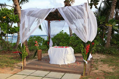 Tropical wedding pavilion royalty free stock photography