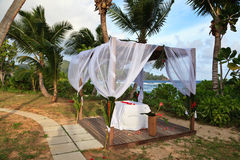 Tropical wedding pavilion Stock Photos