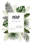 Tropical wedding RSVP. Invitation with palm leaves. Hand drawn v. Ector template. Perfect for prints, posters, invitations, greeting cards etc Royalty Free Stock Image