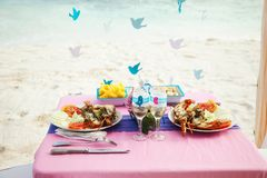 Tropical wedding. table with sea food stock photo