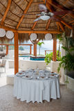 Tropical wedding table setting Royalty Free Stock Photo