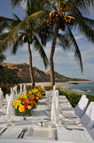 Tropical wedding table setting Los Cabos. A luxurious tropical wedding table setting on the beach of Los Cabos Baja California Sur Mexico stock photo
