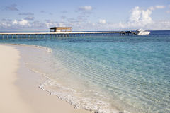 Tropical white beach and yacht stock image