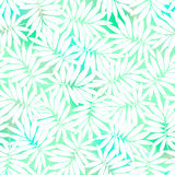 Tropical white and green leaves in a seamless pattern Stock Photos