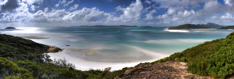 Tropical White Haven Beach. Panorama of White Haven beach in the Whitsunday islands of Australia Stock Photography
