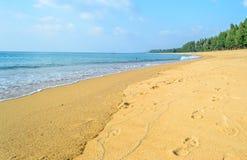 Tropical white sand beach against blue sky,Thailand Stock Photos
