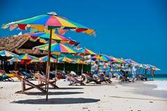 Tropical white sand beach arainst blue sky. Similan islands, Phu Royalty Free Stock Photography