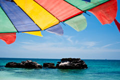 Tropical white sand beach arainst blue sky. Similan islands, Phu Stock Image