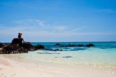 Tropical white sand beach arainst blue sky. Similan islands Royalty Free Stock Photography