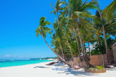 Tropical white sand beach, Boracay island. Beautiful tropical white sand beach, Boracay island, Philippines Royalty Free Stock Photo